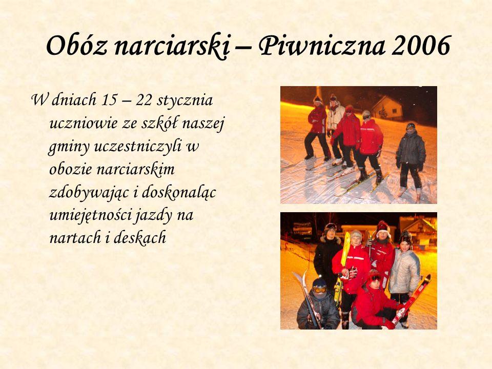 Obóz narciarski – Piwniczna 2006 W dniach 15 – 22 stycznia uczniowie ze szkół naszej gminy uczestniczyli w obozie narciarskim zdobywając i doskonaląc