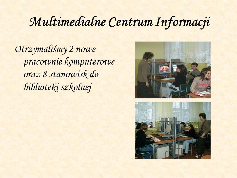 Multimedialne Centrum Informacji Otrzymaliśmy 2 nowe pracownie komputerowe oraz 8 stanowisk do biblioteki szkolnej