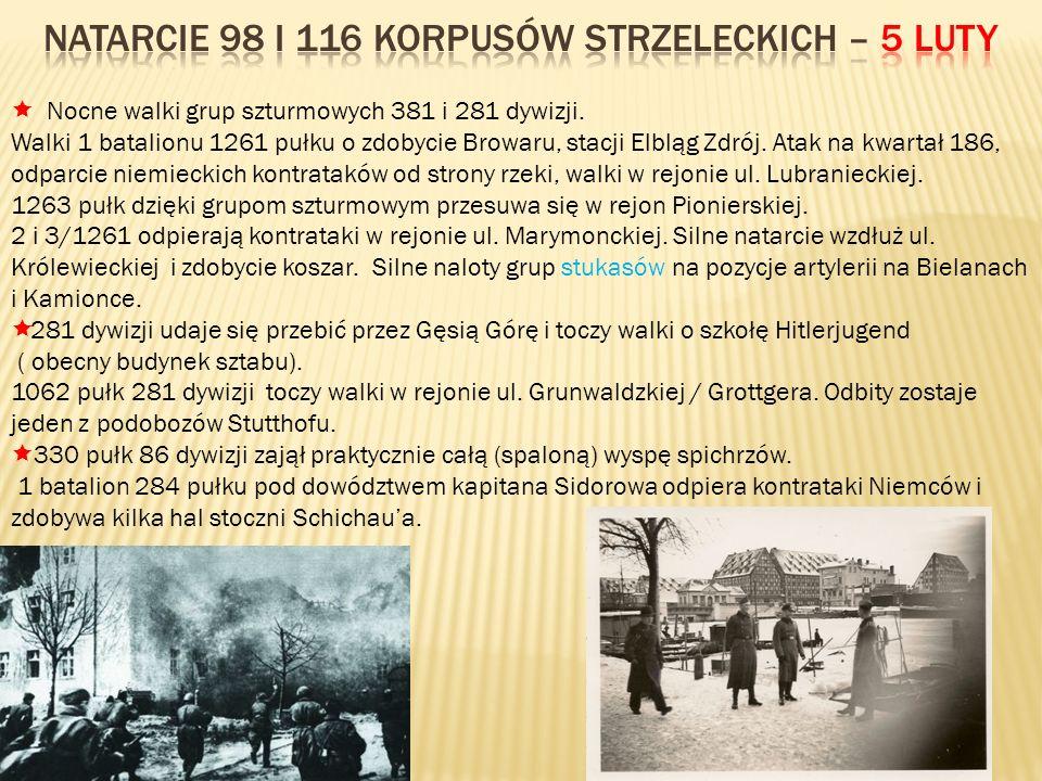 Nocne walki grup szturmowych 381 i 281 dywizji. Walki 1 batalionu 1261 pułku o zdobycie Browaru, stacji Elbląg Zdrój. Atak na kwartał 186, odparcie ni
