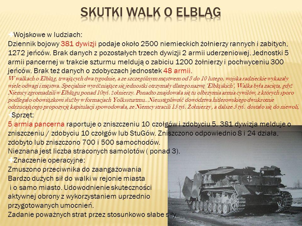 Wojskowe w ludziach: Dziennik bojowy 381 dywizji podaje około 2500 niemieckich żołnierzy rannych i zabitych, 1272 jeńców. Brak danych z pozostałych tr