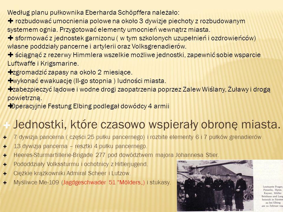 Jednostki broniące miasta: Jednostki 561 dywizji grenadierów ludowych (1142 i 1144 pułki w rejonie Kamionki i północna część miasta.