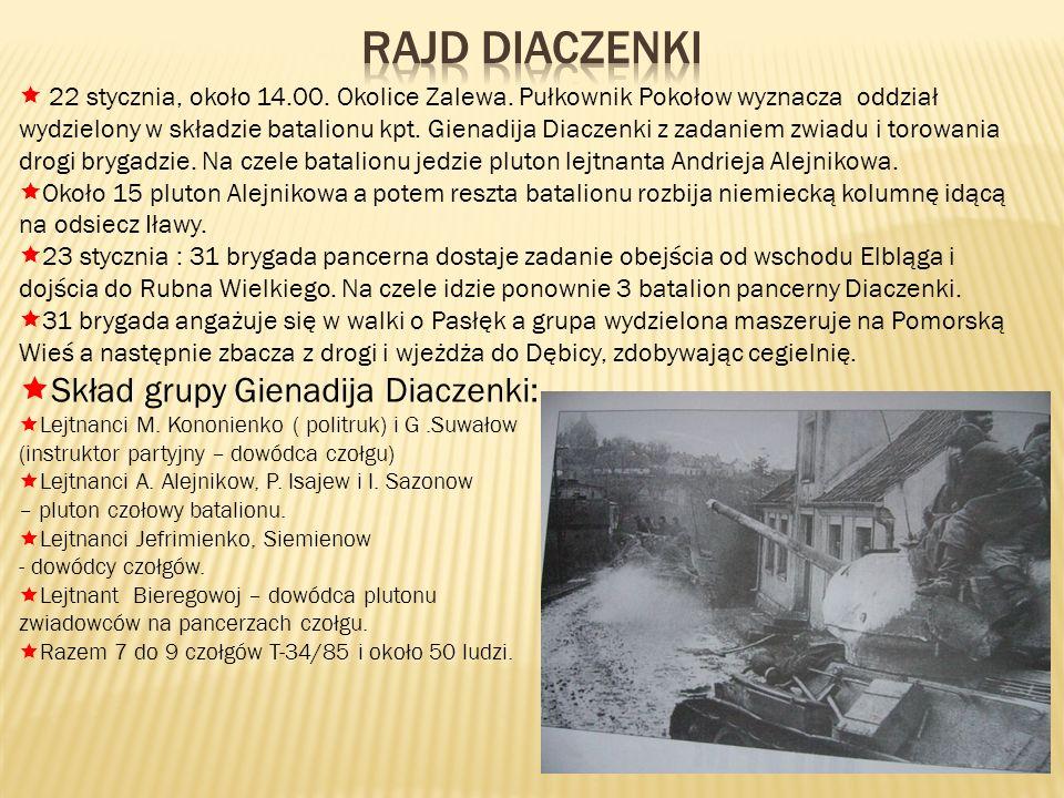 22 stycznia, około 14.00. Okolice Zalewa. Pułkownik Pokołow wyznacza oddział wydzielony w składzie batalionu kpt. Gienadija Diaczenki z zadaniem zwiad