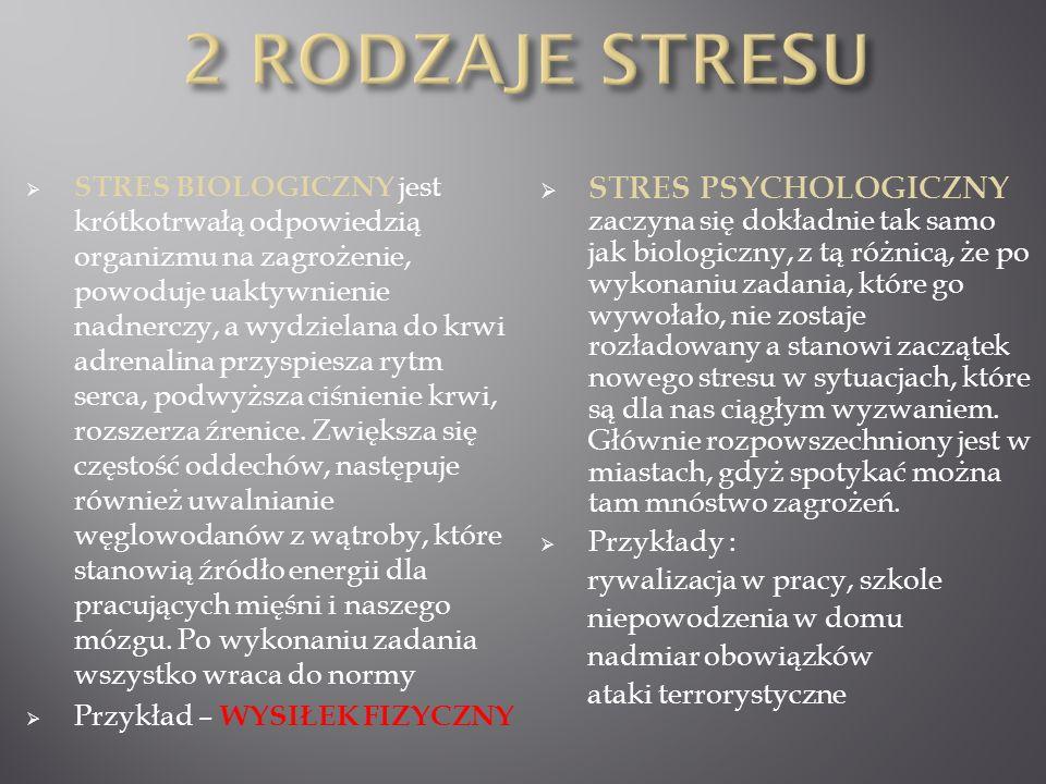 STRES BIOLOGICZNY jest krótkotrwałą odpowiedzią organizmu na zagrożenie, powoduje uaktywnienie nadnerczy, a wydzielana do krwi adrenalina przyspiesza