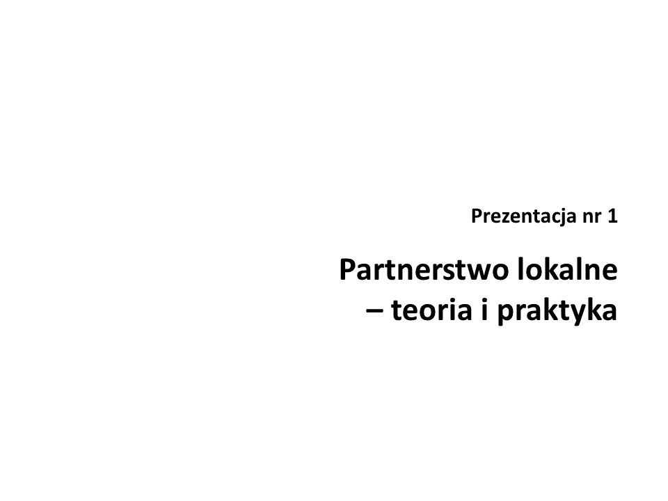 Czym jest partnerstwo lokalne.