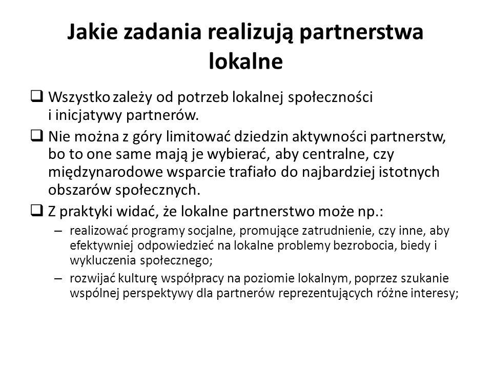 Jakie zadania realizują partnerstwa lokalne Wszystko zależy od potrzeb lokalnej społeczności i inicjatywy partnerów. Nie można z góry limitować dziedz