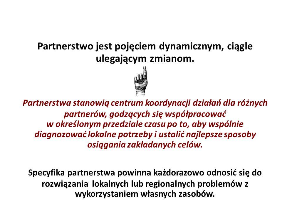 Partnerstwo jest pojęciem dynamicznym, ciągle ulegającym zmianom. Partnerstwa stanowią centrum koordynacji działań dla różnych partnerów, godzących si