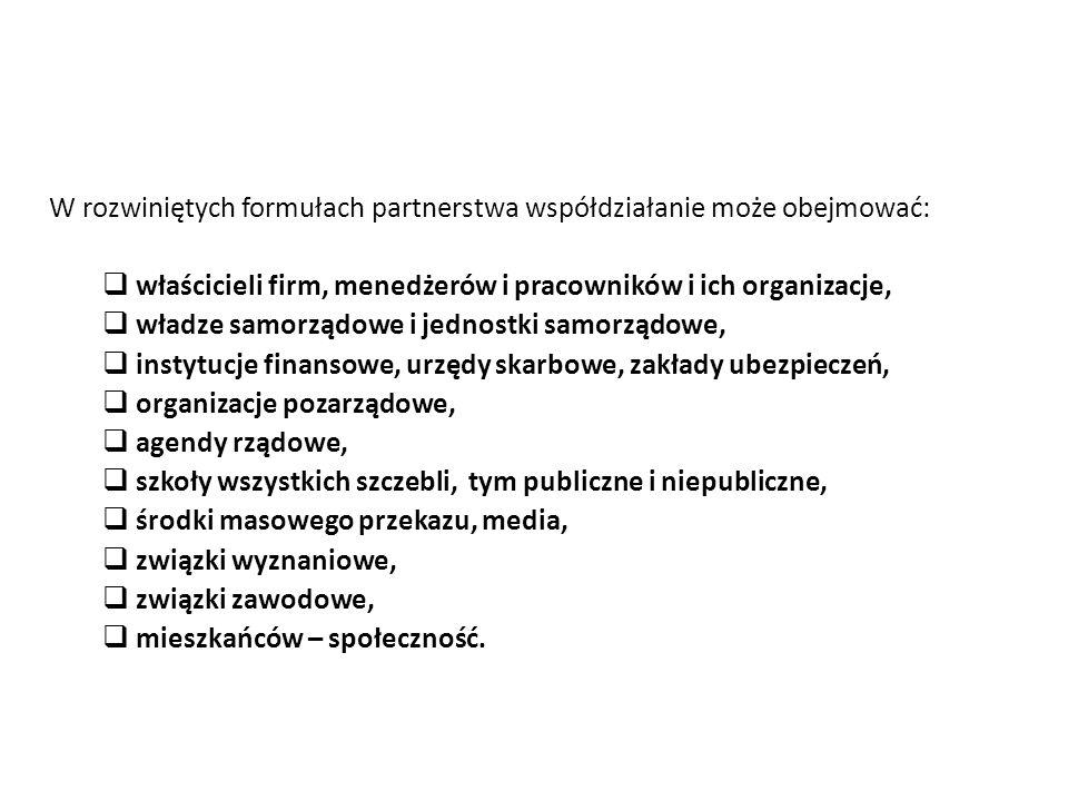 W rozwiniętych formułach partnerstwa współdziałanie może obejmować: właścicieli firm, menedżerów i pracowników i ich organizacje, władze samorządowe i