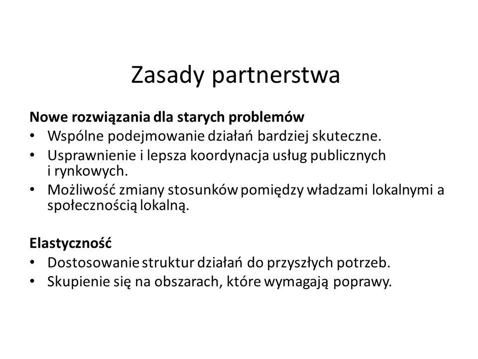 Zasady partnerstwa Nowe rozwiązania dla starych problemów Wspólne podejmowanie działań bardziej skuteczne. Usprawnienie i lepsza koordynacja usług pub