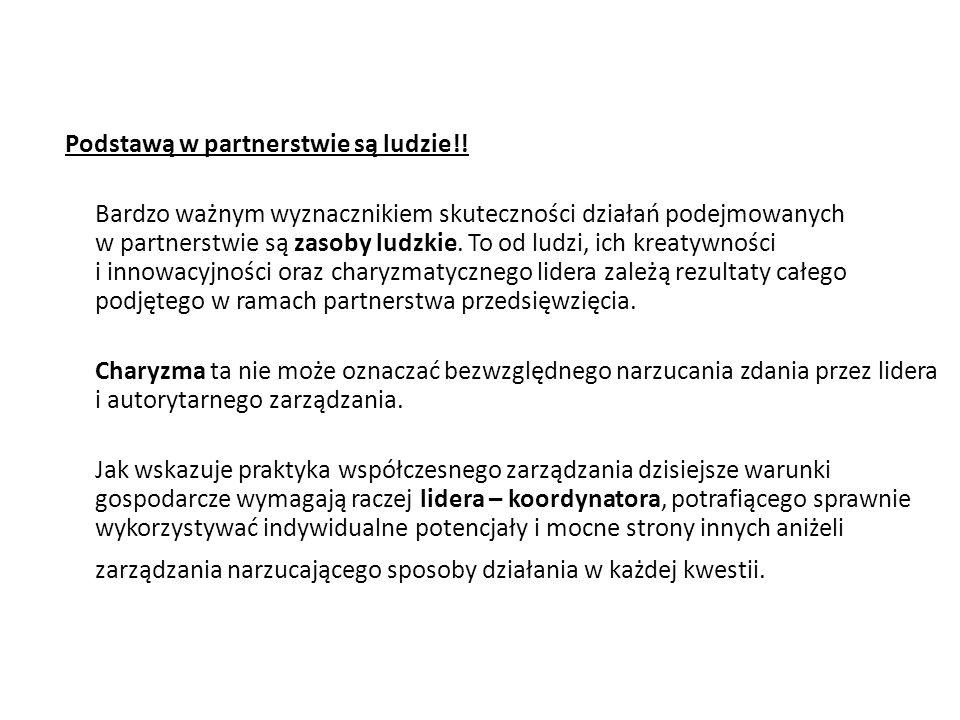 Podstawą w partnerstwie są ludzie!! Bardzo ważnym wyznacznikiem skuteczności działań podejmowanych w partnerstwie są zasoby ludzkie. To od ludzi, ich