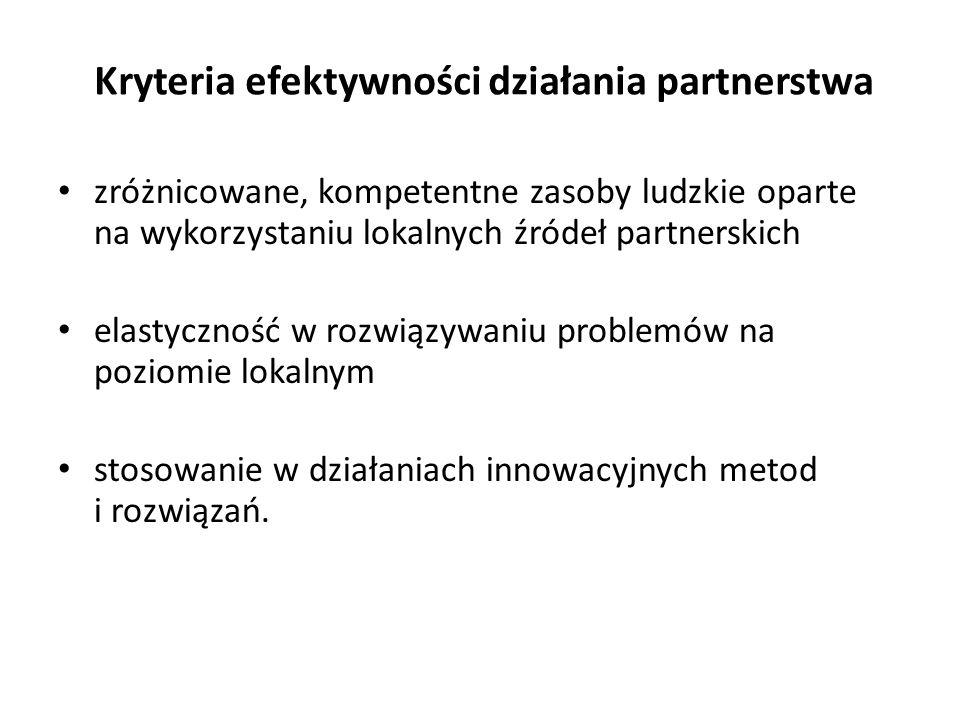 Kryteria efektywności działania partnerstwa zróżnicowane, kompetentne zasoby ludzkie oparte na wykorzystaniu lokalnych źródeł partnerskich elastycznoś