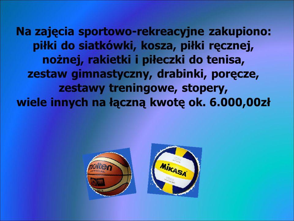 Na zajęcia sportowo-rekreacyjne zakupiono: piłki do siatkówki, kosza, piłki ręcznej, nożnej, rakietki i piłeczki do tenisa, zestaw gimnastyczny, drabinki, poręcze, zestawy treningowe, stopery, wiele innych na łączną kwotę ok.