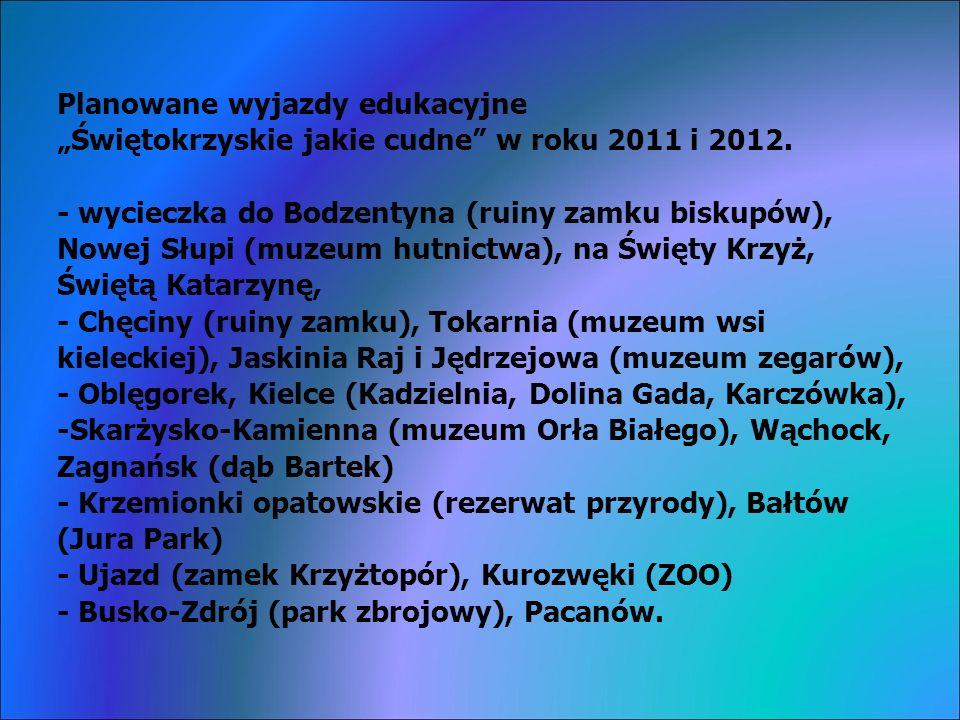 Planowane wyjazdy edukacyjne Świętokrzyskie jakie cudne w roku 2011 i 2012.