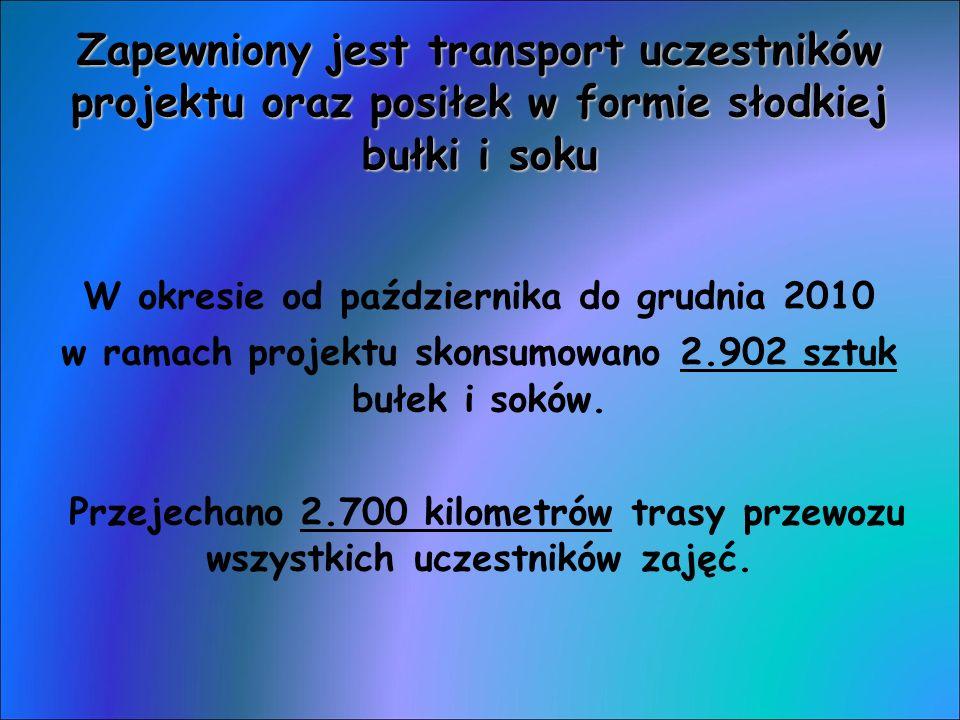 Zapewniony jest transport uczestników projektu oraz posiłek w formie słodkiej bułki i soku W okresie od października do grudnia 2010 w ramach projektu skonsumowano 2.902 sztuk bułek i soków.