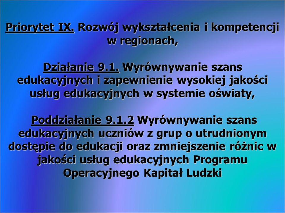 Priorytet IX. Rozwój wykształcenia i kompetencji w regionach, Działanie 9.1.
