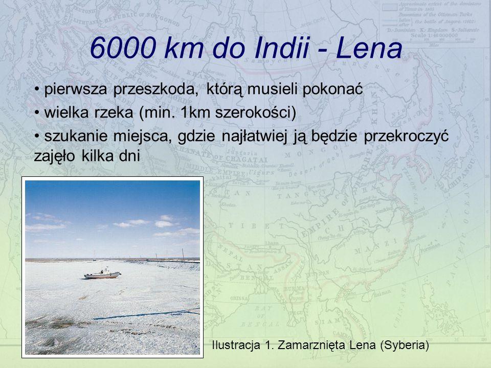 6000 km do Indii - Lena Ilustracja 1. Zamarznięta Lena (Syberia) pierwsza przeszkoda, którą musieli pokonać wielka rzeka (min. 1km szerokości) szukani