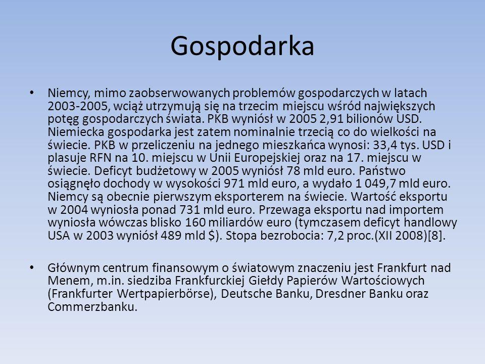 Gospodarka Niemcy, mimo zaobserwowanych problemów gospodarczych w latach 2003-2005, wciąż utrzymują się na trzecim miejscu wśród największych potęg gospodarczych świata.