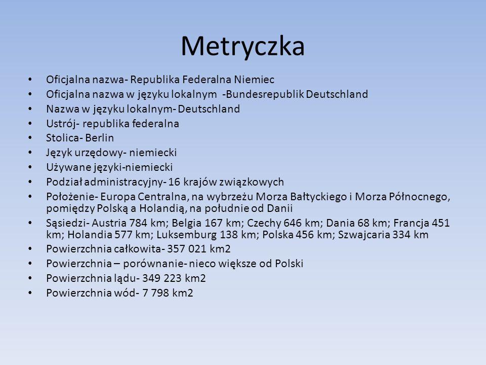 Metryczka Oficjalna nazwa- Republika Federalna Niemiec Oficjalna nazwa w języku lokalnym-Bundesrepublik Deutschland Nazwa w języku lokalnym- Deutschland Ustrój- republika federalna Stolica- Berlin Język urzędowy- niemiecki Używane języki-niemiecki Podział administracyjny- 16 krajów związkowych Położenie- Europa Centralna, na wybrzeżu Morza Bałtyckiego i Morza Północnego, pomiędzy Polską a Holandią, na południe od Danii Sąsiedzi- Austria 784 km; Belgia 167 km; Czechy 646 km; Dania 68 km; Francja 451 km; Holandia 577 km; Luksemburg 138 km; Polska 456 km; Szwajcaria 334 km Powierzchnia całkowita- 357 021 km2 Powierzchnia – porównanie- nieco większe od Polski Powierzchnia lądu- 349 223 km2 Powierzchnia wód- 7 798 km2