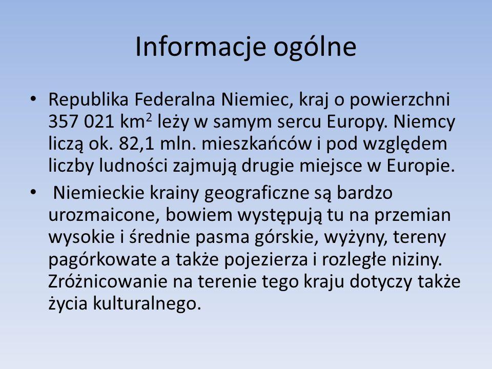 Informacje ogólne Republika Federalna Niemiec, kraj o powierzchni 357 021 km 2 leży w samym sercu Europy.