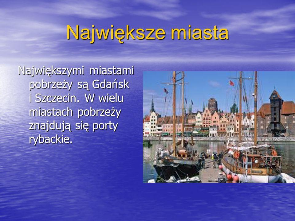 Największe miasta Największymi miastami pobrzeży są Gdańsk i Szczecin. W wielu miastach pobrzeży znajdują się porty rybackie.