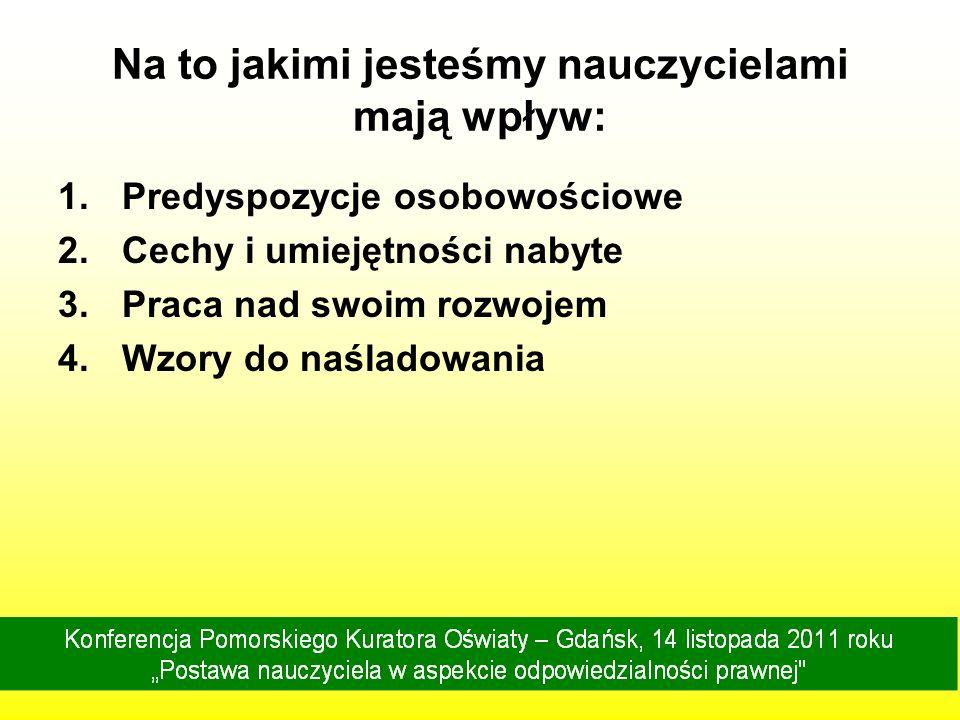 Konferencja Pomorskiego Kuratora Oświaty – Gdańsk, 14 listopada 2011 roku Postawa nauczyciela w aspekcie odpowiedzialności prawnej Nauczyciel wyzwalający - w atmosferze pogody, ładu i życzliwości stopniowo zdobywa sobie autorytet o wielkiej sile wewnętrznej.