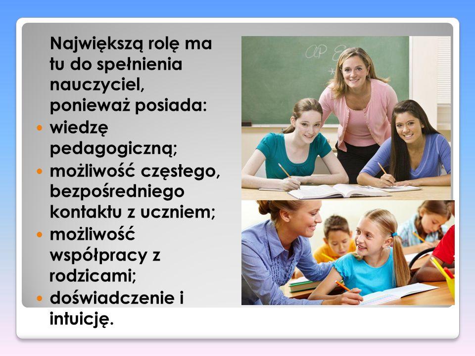 Największą rolę ma tu do spełnienia nauczyciel, ponieważ posiada: wiedzę pedagogiczną; możliwość częstego, bezpośredniego kontaktu z uczniem; możliwoś
