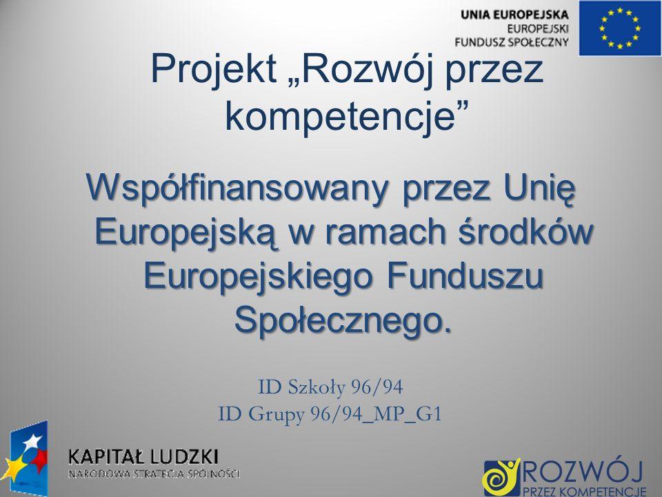 Projekt Rozwój przez kompetencje Współfinansowany przez Unię Europejską w ramach środków Europejskiego Funduszu Społecznego. ID Szkoły 96/94 ID Grupy