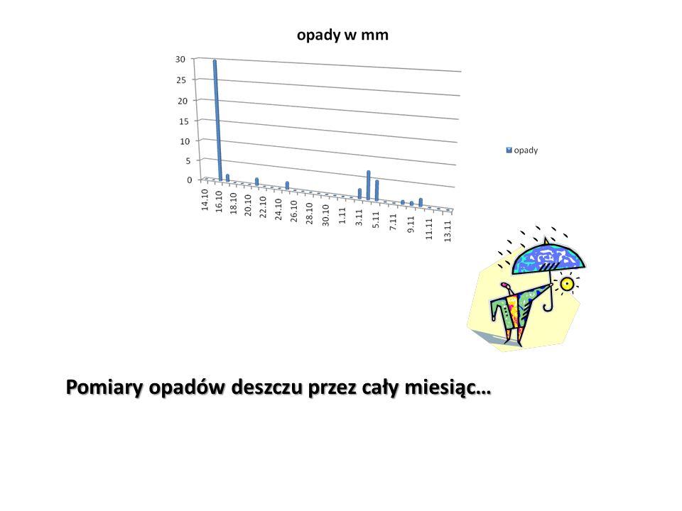 Pomiary opadów deszczu przez cały miesiąc…