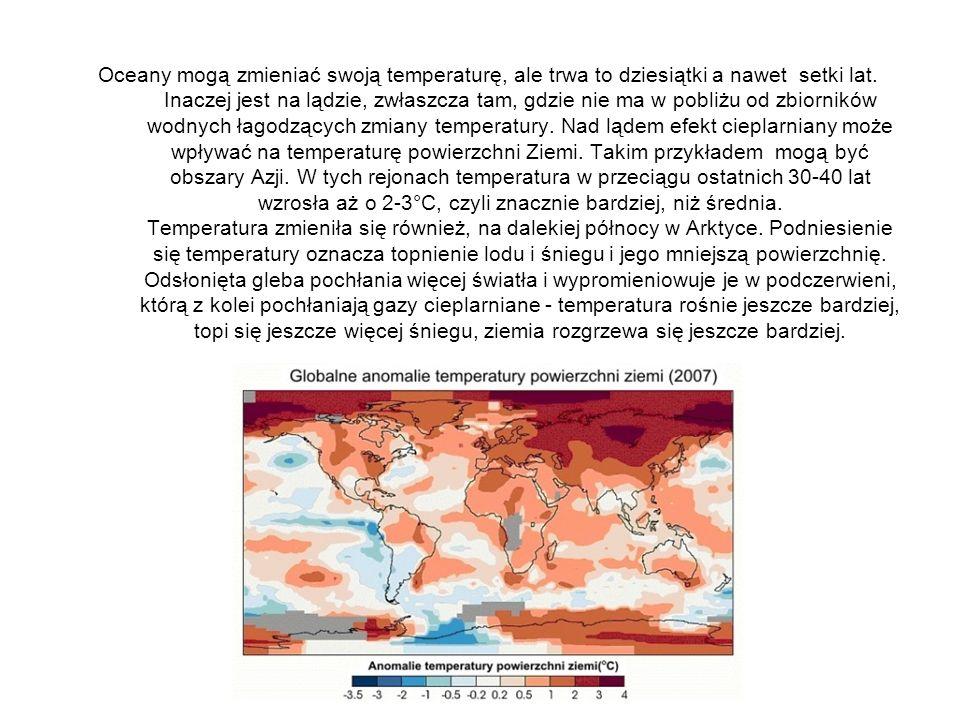 Oceany mogą zmieniać swoją temperaturę, ale trwa to dziesiątki a nawet setki lat. Inaczej jest na lądzie, zwłaszcza tam, gdzie nie ma w pobliżu od zbi