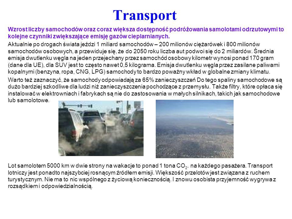 Transport Wzrost liczby samochodów oraz coraz większa dostępność podróżowania samolotami odrzutowymi to kolejne czynniki zwiększające emisję gazów cie