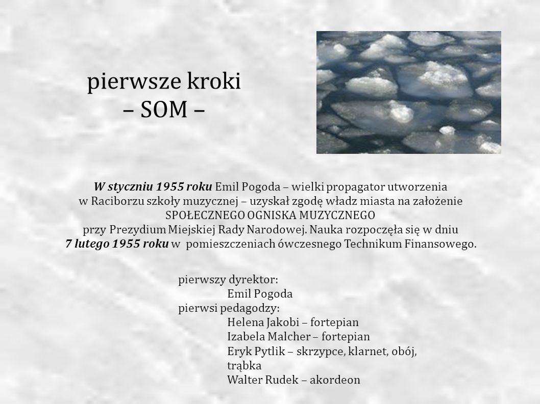 W styczniu 1955 roku Emil Pogoda – wielki propagator utworzenia w Raciborzu szkoły muzycznej – uzyskał zgodę władz miasta na założenie SPOŁECZNEGO OGN
