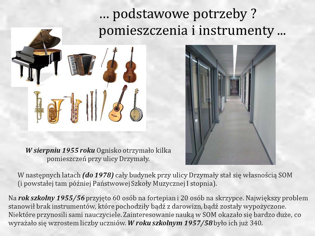 W sierpniu 1955 roku Ognisko otrzymało kilka pomieszczeń przy ulicy Drzymały. Na rok szkolny 1955/56 przyjęto 60 osób na fortepian i 20 osób na skrzyp