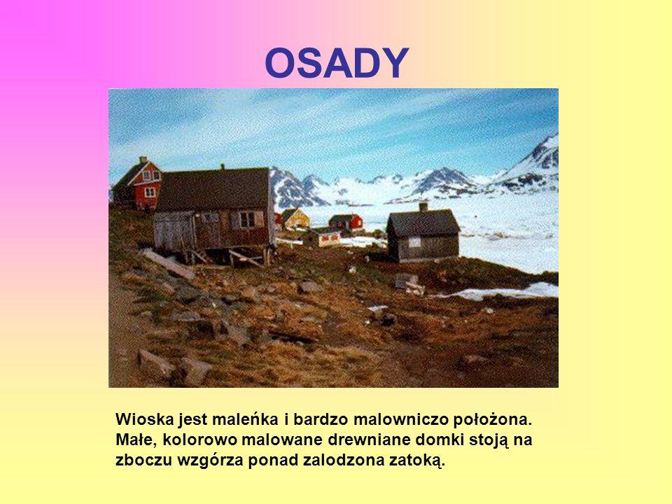 OSADY Wioska jest maleńka i bardzo malowniczo położona. Małe, kolorowo malowane drewniane domki stoją na zboczu wzgórza ponad zalodzona zatoką.