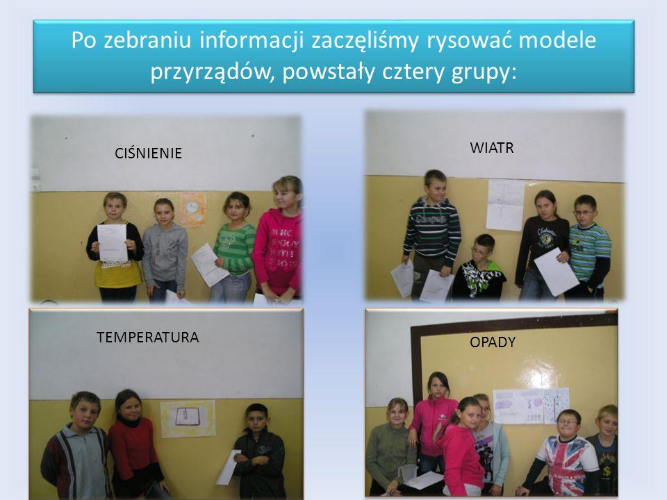Po zebraniu informacji zaczęliśmy rysować modele przyrządów, powstały cztery grupy: TEMPERATURA CIŚNIENIE WIATR OPADY