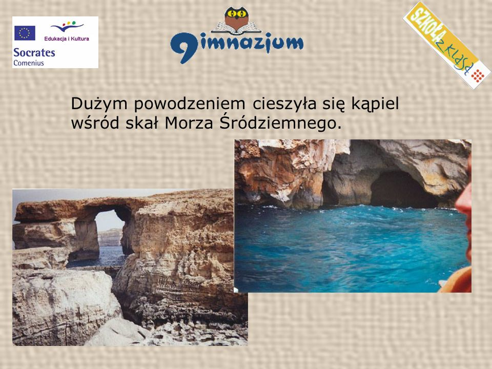 Dużym powodzeniem cieszyła się kąpiel wśród skał Morza Śródziemnego.