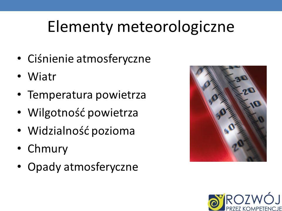 Elementy meteorologiczne Ciśnienie atmosferyczne Wiatr Temperatura powietrza Wilgotność powietrza Widzialność pozioma Chmury Opady atmosferyczne