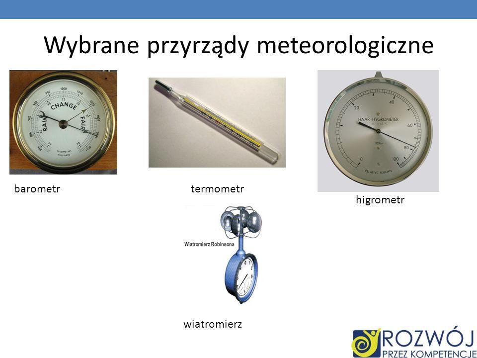 Wybrane przyrządy meteorologiczne barometrtermometr higrometr wiatromierz