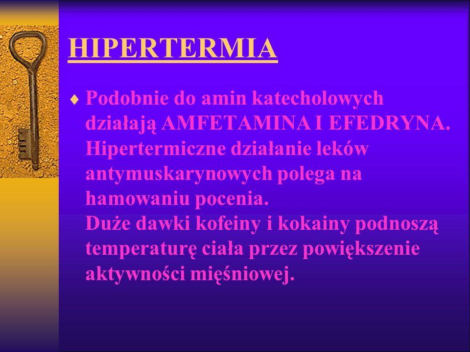 HIPERTERMIA Podobnie do amin katecholowych działają AMFETAMINA I EFEDRYNA. Hipertermiczne działanie leków antymuskarynowych polega na hamowaniu poceni