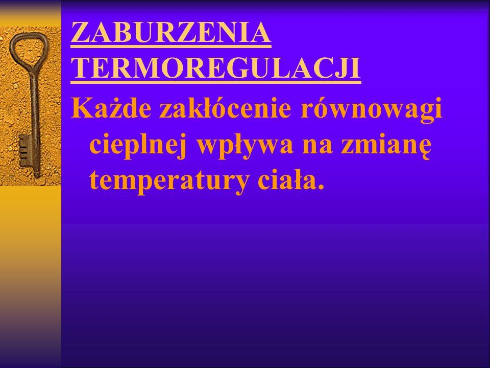 ZABURZENIA TERMOREGULACJI Każde zakłócenie równowagi cieplnej wpływa na zmianę temperatury ciała.