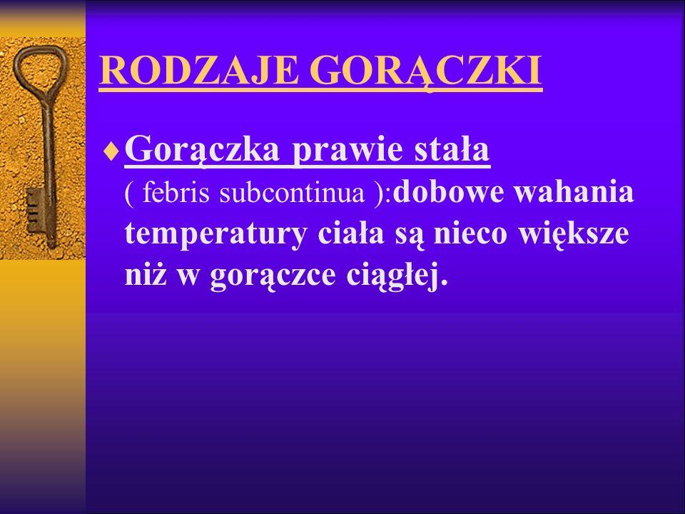RODZAJE GORĄCZKI Gorączka prawie stała ( febris subcontinua ): dobowe wahania temperatury ciała są nieco większe niż w gorączce ciągłej.