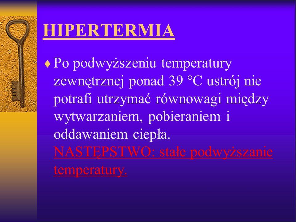 HIPERTERMIA Po podwyższeniu temperatury zewnętrznej ponad 39 °C ustrój nie potrafi utrzymać równowagi między wytwarzaniem, pobieraniem i oddawaniem ci