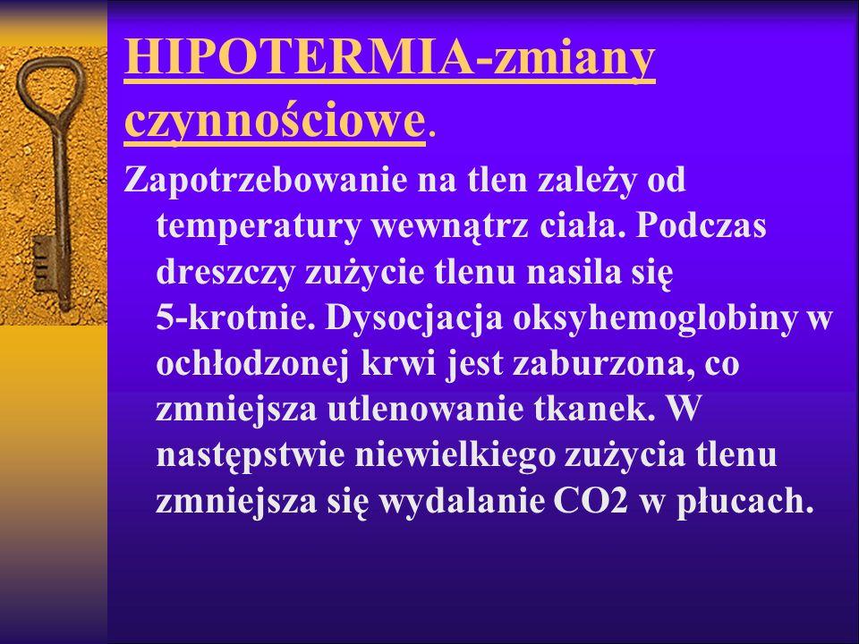 HIPOTERMIA-zmiany czynnościowe. Zapotrzebowanie na tlen zależy od temperatury wewnątrz ciała. Podczas dreszczy zużycie tlenu nasila się 5-krotnie. Dys