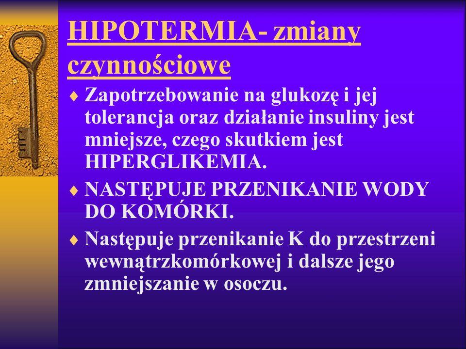 HIPOTERMIA- zmiany czynnościowe Zapotrzebowanie na glukozę i jej tolerancja oraz działanie insuliny jest mniejsze, czego skutkiem jest HIPERGLIKEMIA.
