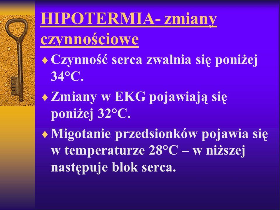 HIPOTERMIA- zmiany czynnościowe Czynność serca zwalnia się poniżej 34°C. Zmiany w EKG pojawiają się poniżej 32°C. Migotanie przedsionków pojawia się w