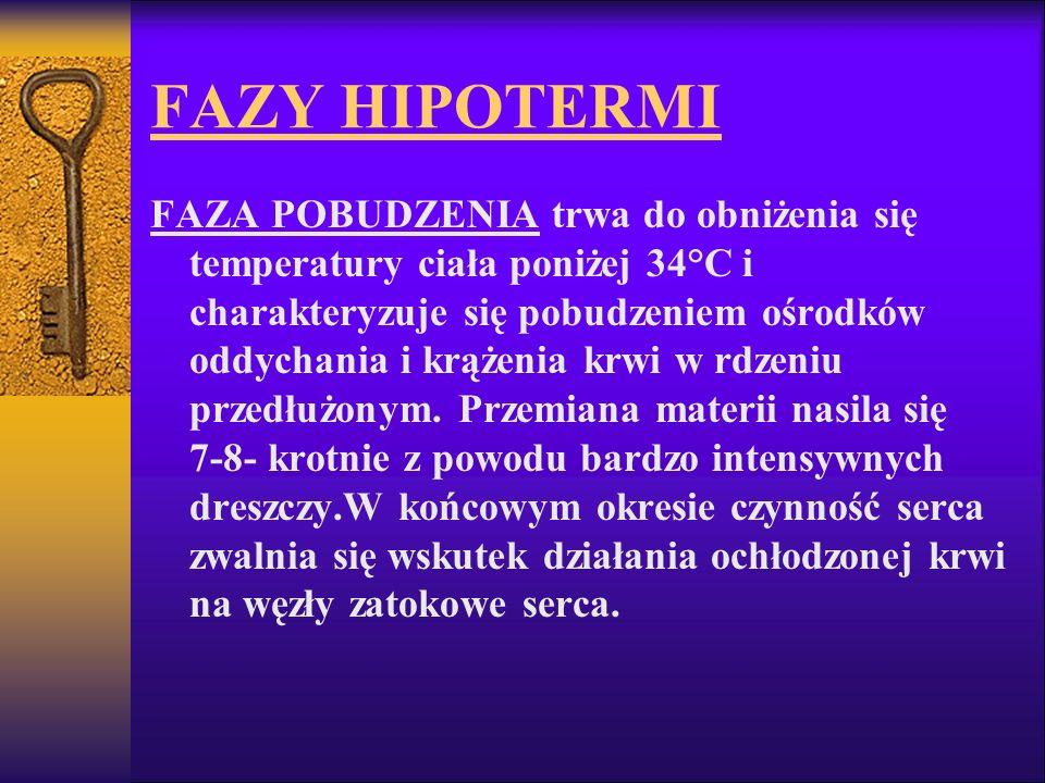 FAZY HIPOTERMI FAZA POBUDZENIA trwa do obniżenia się temperatury ciała poniżej 34°C i charakteryzuje się pobudzeniem ośrodków oddychania i krążenia kr