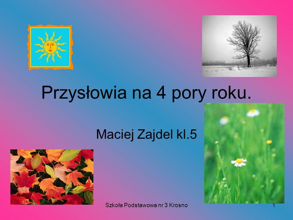 Szkoła Podstawowa nr 3 Krosno1 Przysłowia na 4 pory roku. Maciej Zajdel kl.5