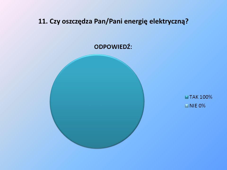 11. Czy oszczędza Pan/Pani energię elektryczną?