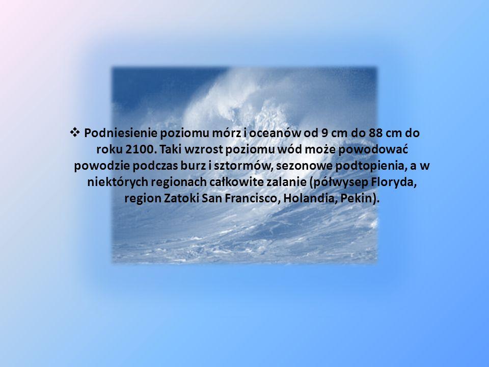 Podniesienie poziomu mórz i oceanów od 9 cm do 88 cm do roku 2100. Taki wzrost poziomu wód może powodować powodzie podczas burz i sztormów, sezonowe p