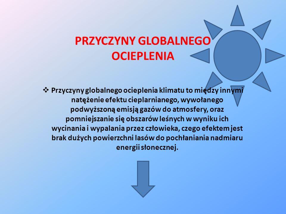 PRZYCZYNY GLOBALNEGO OCIEPLENIA Przyczyny globalnego ocieplenia klimatu to między innymi natężenie efektu cieplarnianego, wywołanego podwyższoną emisj