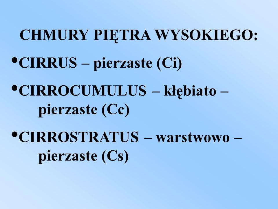 CHMURY PIĘTRA WYSOKIEGO: CIRRUS – pierzaste (Ci) CIRROCUMULUS – kłębiato – pierzaste (Cc) CIRROSTRATUS – warstwowo – pierzaste (Cs)