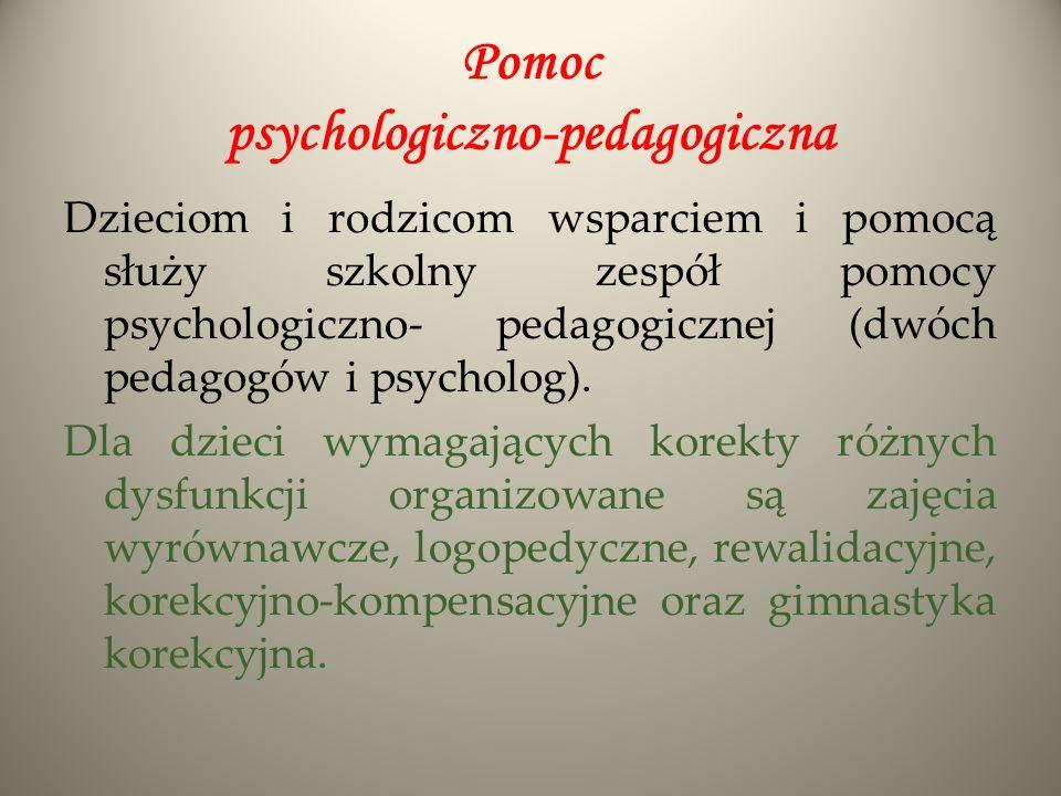 Pomoc psychologiczno-pedagogiczna Dzieciom i rodzicom wsparciem i pomocą służy szkolny zespół pomocy psychologiczno- pedagogicznej (dwóch pedagogów i